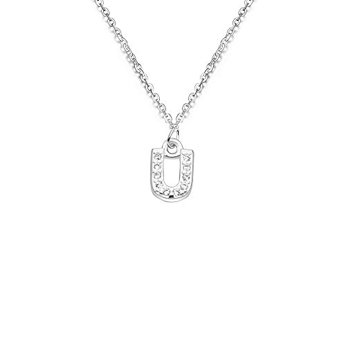 S925 - Gargantilla de plata con colgante de 26 iniciales de cristal para mujer y niña (U)