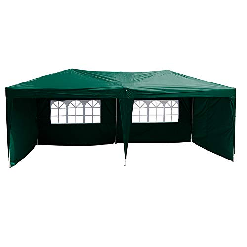 Polar Aurora 10' X 20' Easy Pop up Canopy Party Tent Outdoor Patio Wedding Party Tent Folding Waterproof w/ 4 Removable Sidewalls and Portable Bag - Green