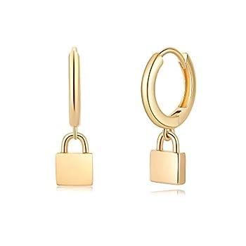 Padlock Huggie Hoop Earrings S925 Sterling Silver Post 14K Gold Plated Small Minimalist Lock Huggy Huggies Dangle Hoop Earrings for Women