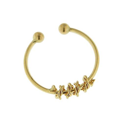 9K Solid Gelb Gold 22 Gauge - 8 MM Länge Rundschreiben weiter verdrehten falsche Nase Ring Piercing Septum