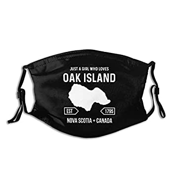 Girl Loves Oak Island Treasure Hunter Map Mystery Face Mask with Replaceable Filters Washable Skin-Friendly Fog Haze Proof Dust Bandanas Balaclava for Party Travel