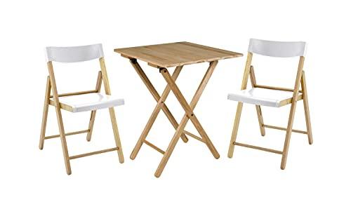 Tramontina Potenza-Juego de Muebles de jardín (3 Piezas, Mesa con 2 sillas, Plegables), Color Blanco
