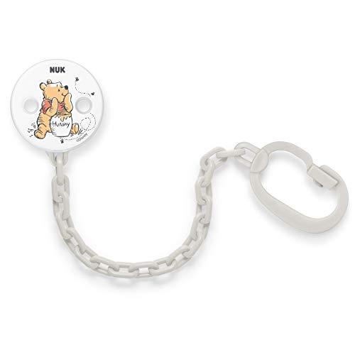 Nuk Disney Winnie Puuh Schnullerkette | mit Clip zur sicheren Befestigung des Schnullers an Baby's Kleidung | weiß oder grau (Farbe nicht frei wählbar)
