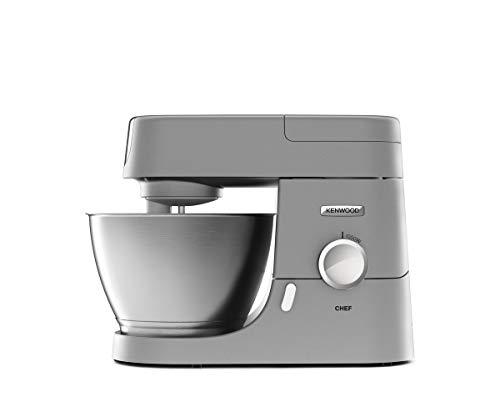 Kenwood Chef KVC3110S Küchenmaschine, 4,6 l Edelstahl Rührschüssel, Interlock-Sicherheitssystem, Metallgehäuse, 1000 Watt, inkl. 3-teiligem Patisserie-Set und Acryl-Mixaufsatz, silber