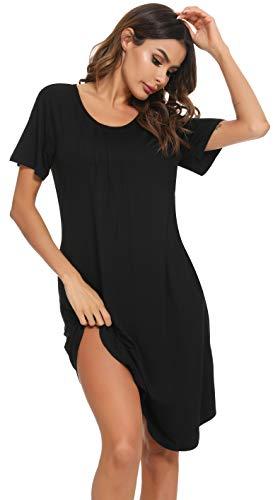 Vlazom Nachthemd Damen Kurzarm Nachtkleid 100% Modal Schlafhemd mit Taschen Rundausschnitt knielanges Nachthemd für Frauen