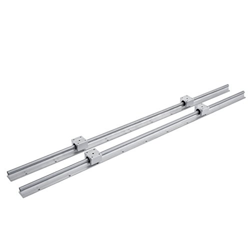 Happybuy Linear Rail 2 Set SBR12-1000mm Linear Rail Support 4 SBR12UU Rounter Bearing Linear Rail Shaft Guide for 12mm Slotted Bearings