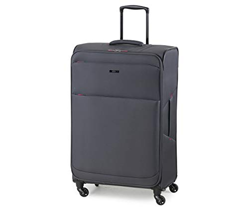 Rock Ever-lite 78cm Large Softside Luggage Lightweight Four Wheel Suitcase Charcoal