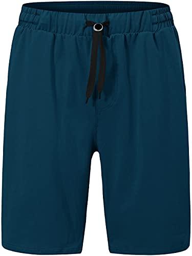 MoFiz Men's Yoga Shorts Casual Lounge Workout Athletic Gym Cotton Sweat Shorts with Pockets Blue Size XL
