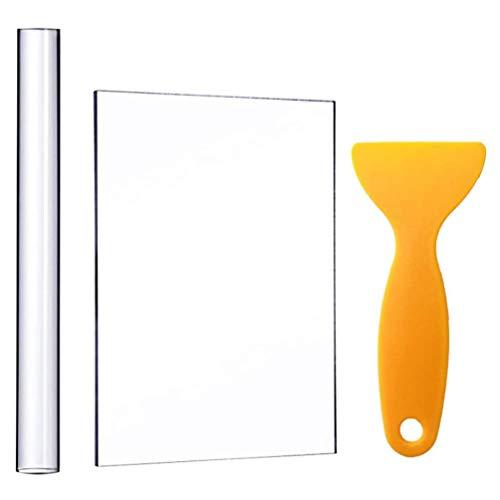 EXCEART 3 Pcs Rouleaux Dargile Acrylique avec Feuille Support Planche Pelles Outils Dargile en Caoutchouc Tige de Roulement Argile Fabrication de Bricolage