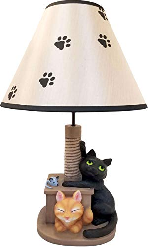 World of Wonders - Meow & Forever Series - Catnap Capers - Collectible Figurine Table Lamp Adorable Black & Orange Tabby Kitty Cats Playing on Scratch Post Home Office Decor Accent Light, 20-inch