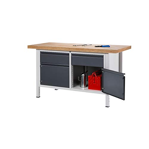 RAU Werkbank - 1 Schublade, 1 Tür, 1 offenes Fach, Plattenbreite 1500 mm, anthrazit-metallic - Werktische Arbeitstische Werktische Arbeitstische
