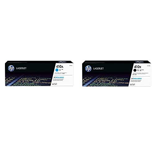 HP 410A CF411A, Cian, Cartucho Tóner Original + 410X CF410X Negro, Cartucho Tóner de Alta Capacidad Original, de 5.000 páginas, para impresoras Color Laserjet Pro Serie M452 y M477