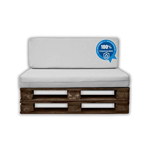 MICAMAMELLAMA Pack Ahorro Asiento + Respaldo Cojines para palets Sofa de Palets Exterior e Interior - Funda Náutica Blanca Impermeable - Espuma HR Alta Densidad - Grosor 12cm - Euro Palets