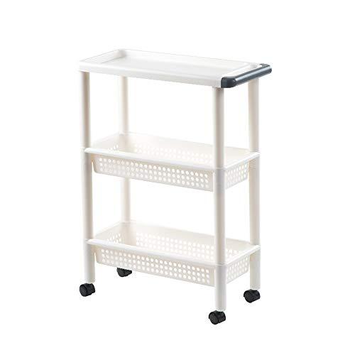 Removable Storage Rack for Küche, Haushalt Rollen Trolley Wagen mit Rädern, Wohnzimmer Nacht Storage Rack mit Armlehnen/Kunststoff, 3-Tier / 4-Tier (Size : 3tier)