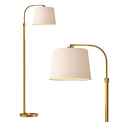 Oneach Modern Floor Lamp for Living Rooms LED Contemporary Arc Standing Lamps for Bedrooms Accent Tall Pole Gold Light for Reading with Hanging Lamp Shade Antique Brass