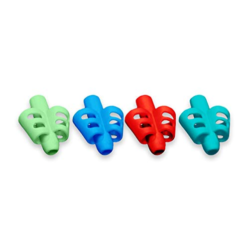 Pencil Grips for Kids Handwriting (4 Pack) Ergonomic Pencil Grip for Kids & Pencil Holder for Kids Posture Correction – BPA-Free Silicone Pencil Holder For Kids Learning To Write