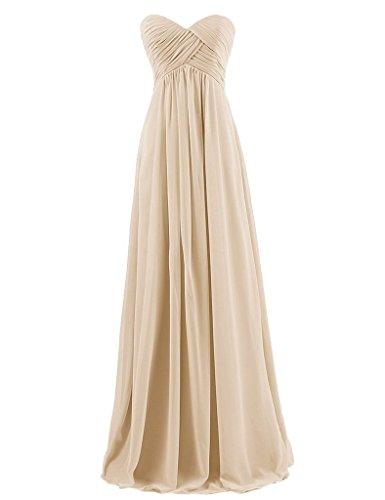 HUINI Brautjungfernkleider Lang Trägerlos Chiffon Empire Ballkleider Schulterfrei Abendkleider Hochzeit Kleider Falten Champagne Size 56