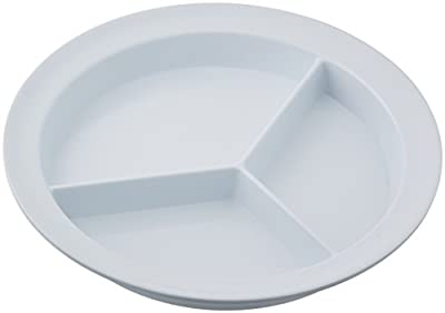 Sammons Preston Partitioned Scoop Dish, Melamine Divided Plate for Kids, Elderly, and Disabled, Divided Sections for Portion Control and Easy Scooping Walls Model:55502 from