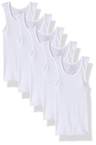 Fruit of The Loom Boys' Cotton Tank Top Undershirt (Multipack) (2T-3T (28-33) LBS, White (Pack of 5))