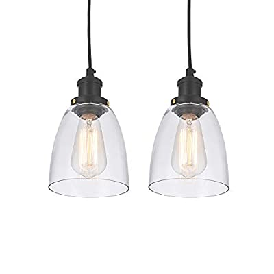 Cuaulans Industrial 2 Pack Black Pendant Lights, Clear Glass Shade Pendant Lighting Fixture for Kitchen Island Dining Room Coffee Bar