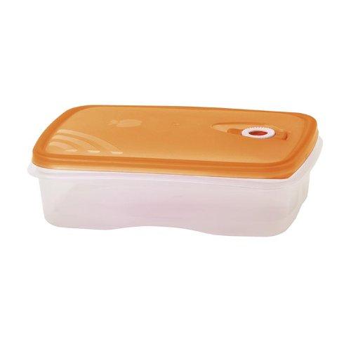 Frischhaltebox (ORANGE) 1,5 Liter mikrowellengeeignet mit Frigo-Test Vakuumventil