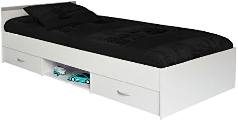 Funktionsbett 90200 cm wei mit 2 Bettksten + offenes Fach Kinderbett Jugendbett Jugendliege Bettliege Bett Jugendzimmer Kinderzimmer