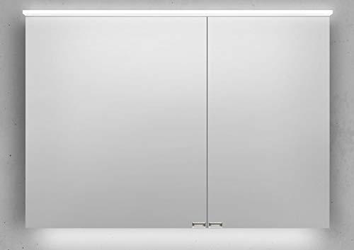 Intarbad ~ Spiegelschrank 100 cm LED Acryl Lichtplatte doppelseitig verspiegelt Rift Eiche Anthrazit
