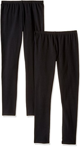 The Children's Place Girls' 2 Pack Basic Leggings, Black 47819 (Pack of 2), XXL(16)