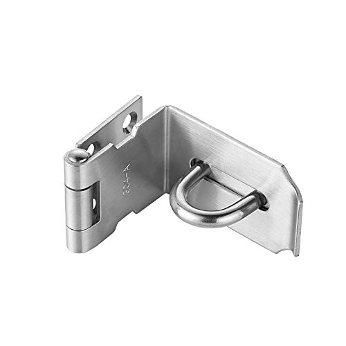 JQK Door Hasp Latch 90 Degree, Stainless Steel Safety Angle Locking Latch for Push/Sliding/Barn Door, 1.5mm Thickness Satin Nickel, 4 Inch