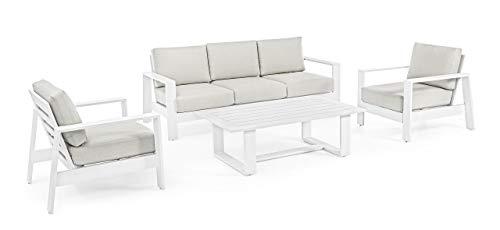 Bizzotto Juego de 4 muebles de salón con cojines Baltic blanco, cód....