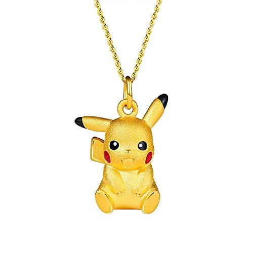 Jinwe Pikachu Necklace, Pokemon Pendant 18K Gold Plated Necklace, Gift for Girlfriend