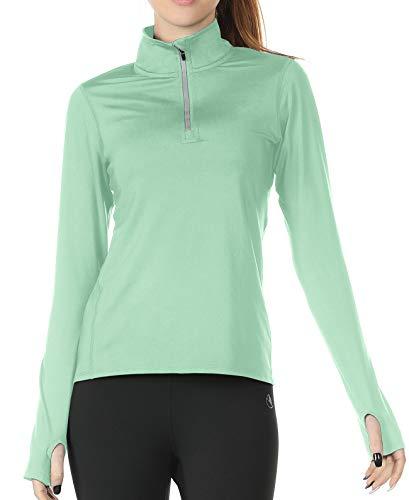 icyzone Femme Veste de Sport 1/4 Zip T-Shirts Manches Longues Séchage Rapide avec Chemises de Course Haut de Yoga Trous de Pouce (M, Vert Clair)