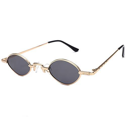 OGOBVCK Smal Oval Vintage Elegante ronda gafas gafas gafas de sol mini lente gafas de sol de color caramelo (BlackGold)