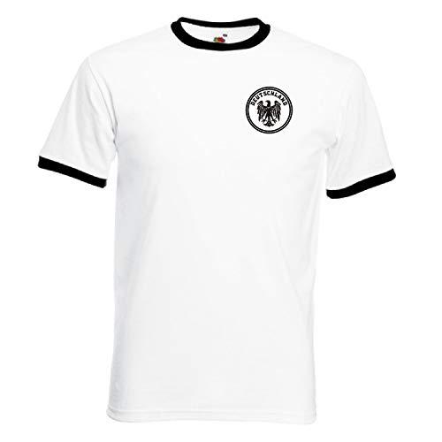 Invicta Screen Printers Germany Deutschland Deutsch Camiseta Retro Alemana del Equipo de Fútbol de Alemania (Medium)