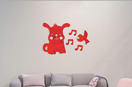Spiegel muurstickers, acryl milieu muurschilderingen, kinderkamer schattige puppy merkt vogel kunst decoratie stickers