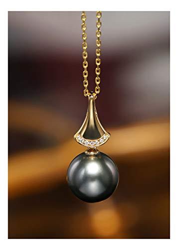 DX.PZ Perla Colgante Oro De 18 Quilates Diamante 11-11,5 MM Negro Perla De Tahití Colgante Collar Multa Joyería con Caja De Regalo