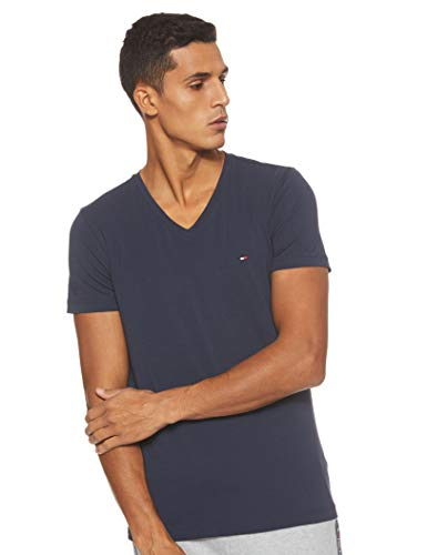 Tommy Hilfiger Herren CORE Stretch Slim Vneck Tee T-Shirt, Blau (Navy Blazer 416), Large