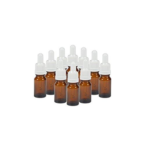 10 x flacons vides en verre ambré avec compte-gouttes - Contenance 10 mL - FL24