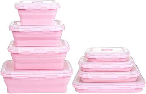 YANJ Caja de Almuerzo de Silicona Recipientes de Almacenamiento de Alimentos Plegables Plegables de Silicona con Tapas de BPA para Cocina Microondas, lavavajillas Caja Fuerte y congelador para