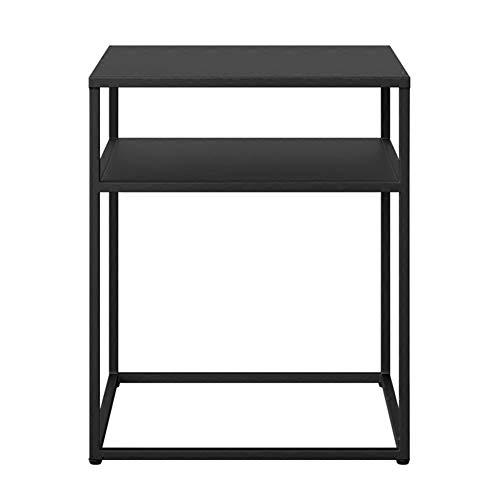 KXDLR 2 niveaus klein boekenrek softafel, bijzettafel, met ijzeren poten opbergplank laptop staander lamp tafel nachtkastje 50 x 50 x 60 cm, zwart
