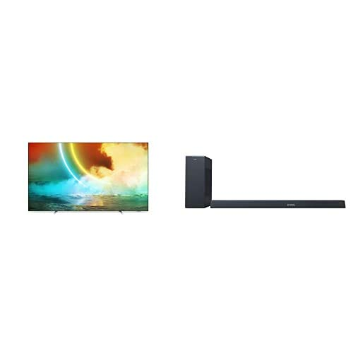 Philips Ambilight 55OLED705/12 55-Inch OLED TV (4K UHD, P5 Engine with AI, Dolby Vision?Atmos, Freeview Play, Works with Alexa, Android TV) with Soundbar B8805/10 incl. Subwoofer (400 W, Dolby Atmos)