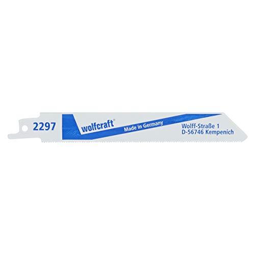 Wolfcraft 2297000 - 2 hojas de sierra de sable bimetal hoja muy flexible,/ chapas de acero 1-3mm, metales no férreos, inox / cortes enrasados finos 130 mm