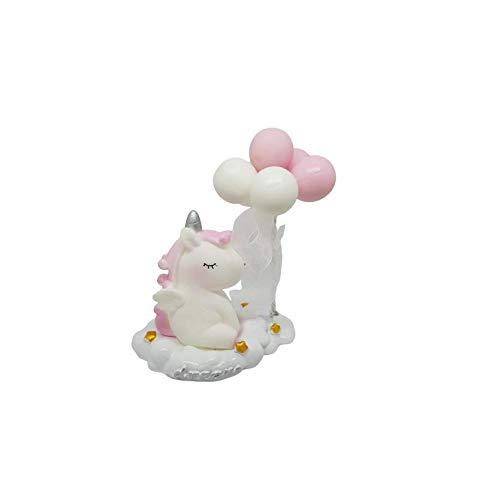 takestop® Bonbonnière, eenhoorn met ballonnen van keramiek, geboorte, verjaardag, doop, party, party, willekeurig, Roze.