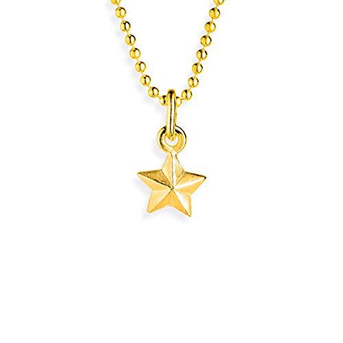 Drachenfels Stern-Anhänger in Echtsilber   Kollektion Sternenglanz & Schattentanz   Mini Sternenanhänger aus 925 Sterlingsilber, goldplattiert
