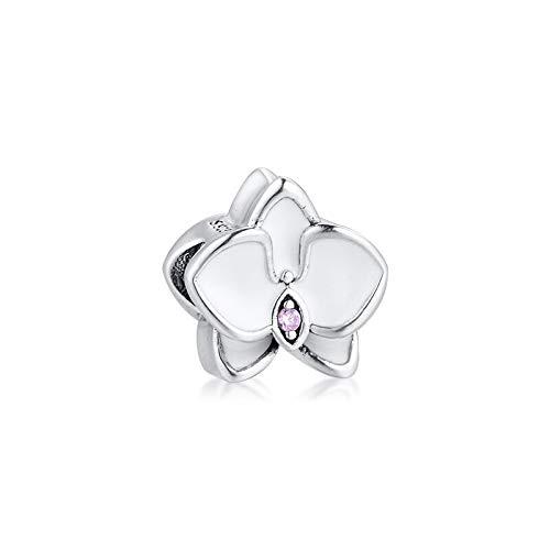 LILANG Pulsera de joyería Pandora 925, se Adapta a Cuentas de orquídea con Esmalte Blanco, Encanto de Plata esterlina para Mujeres, Regalos de Bricolaje