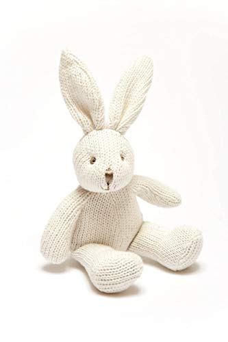 Best Years Knitted Organic Cotton White Bunny Rabbit Baby Rattle. Suitable...