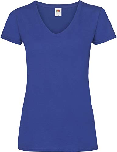 Lady-Fit Valueweight V-Neck T-Shirt von Fruit of the Loom Royalblau XS