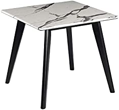 Coaster Home Furnishings Square Top End Table, Black and White Faux Marble