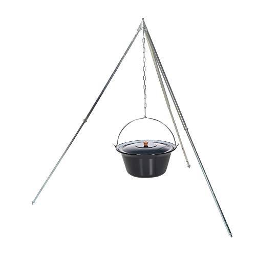 acerto 31825 Original ungarischer Gulaschkessel (22 Liter) + Dreibein-Gestell (170cm) * Emailliert * Kratzfest * Geschmacksneutral Teleskop-Dreifuß mit Gulasch-Topf Suppentopf Glühweintopf Kochkessel