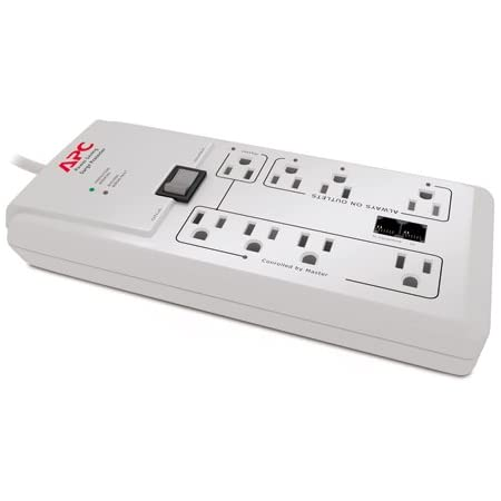 APC P8GT 8 Outlets 120V Power-Saving Home/Office SurgeArrest with Phone Protection White